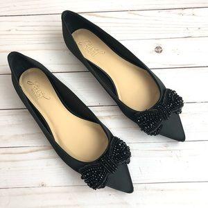 Badgley Mischka Zanna Black Satin Flats Size 7